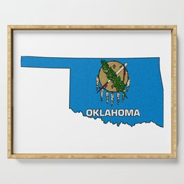 Oklahoma Map with State Flag Serving Tray
