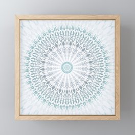 Teal Aqua Mandala Framed Mini Art Print