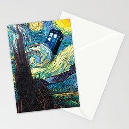 Tardis Art Starry Painting Night Stationery Cards