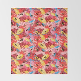 Beautiful illustration of a jungle with the frogs Throw Blanket