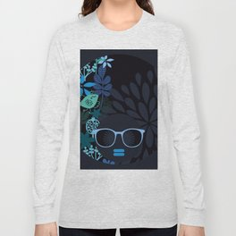 Afro Diva : Sophisticated Lady Teal Long Sleeve T-shirt