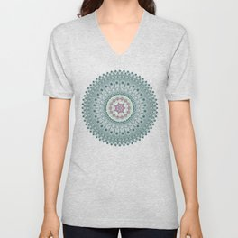 Color teal and purple feather mandala hippie boho Unisex V-Neck