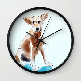 A Mutt in Blue Dog Portrait Wall Clock