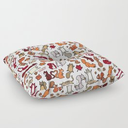 Squirrels in Fall Doodle Floor Pillow