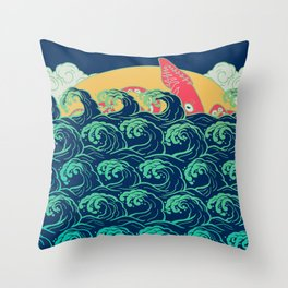 Squid on the waves Throw Pillow