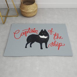 Captain Schipperke (Gray and Red) Rug