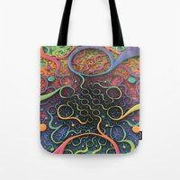creepy Tote Bags featuring Creepy Crawlers  by Lyle Hatch