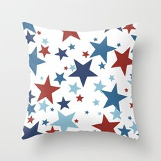 Stars - Red, White and Blue Throw Pillow
