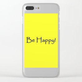 Be Happy - Black and Yellow Design Clear iPhone Case