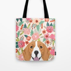 Beagle florals cute spring pet portrait dog lover gift idea beagle owners must haves flower power Tote Bag