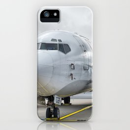 The plane at the airport on road iPhone Case