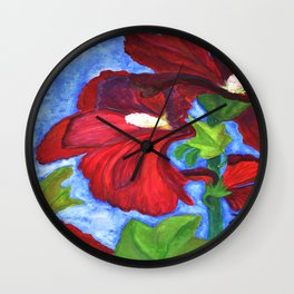 Red Hollyhocks Wall Clock