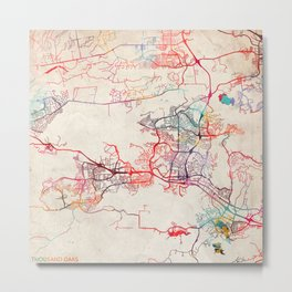 Thousand Oaks map California painting Metal Print