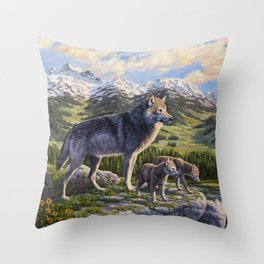 Mother Gray Wolf and Pups River Valley Throw Pillow