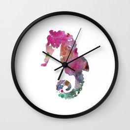 Seahorse Print Purple and Pink Watercolor  Wall Clock