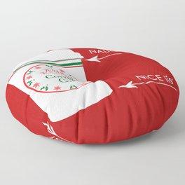 Christmas Naughty Nice Coffee Cup Floor Pillow