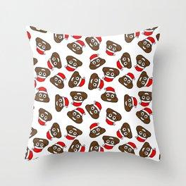 christmas poo emoji Throw Pillow