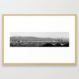 Los Angeles Panoramic Skyline and Mountain Landscape - Monochrome Framed Art Print