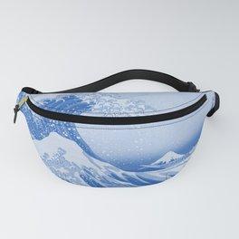 Cerulean Blue Porcelain Glaze Japanese Great Wave Fanny Pack