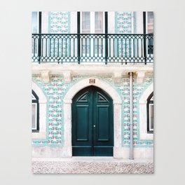 The green door | Lisbon Portugal architecture | Fine art travel photography print Canvas Print