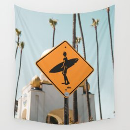 Surfer Crossing at Swami's Beach Wall Tapestry