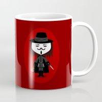 vendetta Mugs featuring Vendetta by Sombras Blancas Art & Design