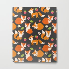 Cute Fox Illustration with Strawberries and Flowers Metal Print