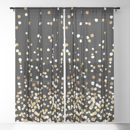 Floating Dots - White and Gold on Black Sheer Curtain