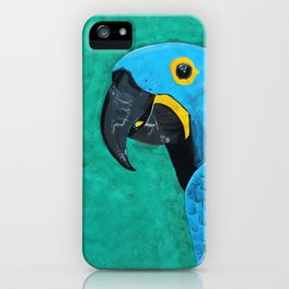 Hyacinth Macaw Gouache Painting iPhone Case