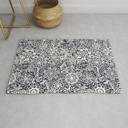 Lace on Nautical Navy Blue Rug
