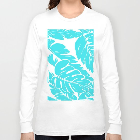 PALM LEAF BLUE Long Sleeve T-shirt