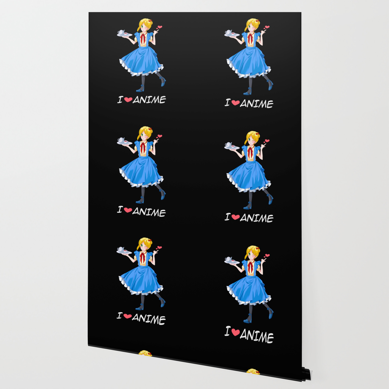 I Love Anime Short Hair Girl Otaku Kawaii Gift Wallpaper