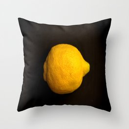 Yellow Lemon On A Black Background #decor #society6 Throw Pillow