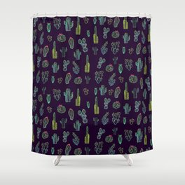 Dark Watercolour Cactus Shower Curtain