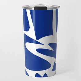 Blue shapes on white background Travel Mug
