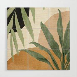 Abstract Art Tropical Leaves 4 Wood Wall Art