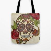 sugar skull Tote Bags featuring Sugar Skull by Valentina Harper