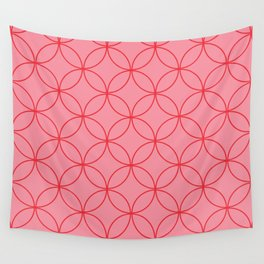 Moorish Circles - Pink & Red Wall Tapestry
