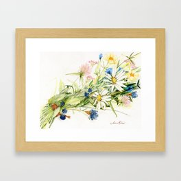 Bouquet of Wildflowers Original Colored Pencil Drawing Framed Art Print