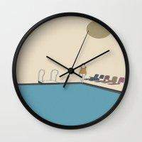 swimming Wall Clocks featuring Swimming by Jarom Ward