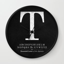 Monogram Letter T Initial with Black & White Alphabet Wall Clock