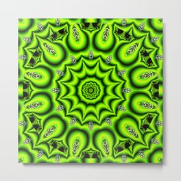 Spring Garden Mandala, Abstract Star Burst Delightful Spirals Metal Print