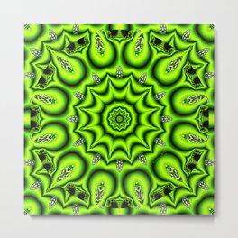 Spring Garden Mandala, Abstract Star Burst Delightful Spirals Metal Print