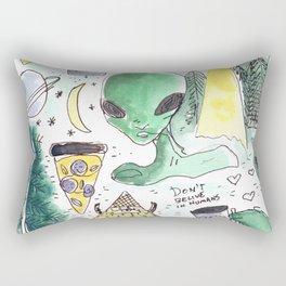 alien horror pizza pattern moon Rectangular Pillow