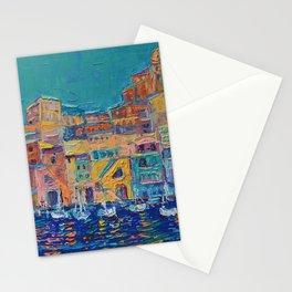 Bay of Naples #3 - modern palette knife art city landscape by Adriana Dziuba Stationery Cards
