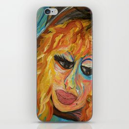 Fashionista in Coral and Blue iPhone Skin