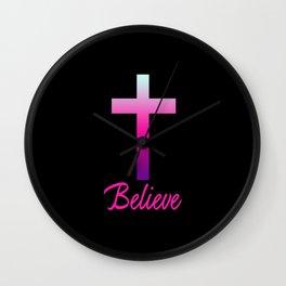 Believe (Pink Cross) Wall Clock