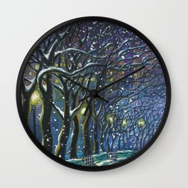 Snowy night park Wall Clock
