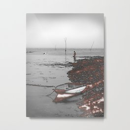Boy and Seagull fishing near a nuclear power station. Metal Print