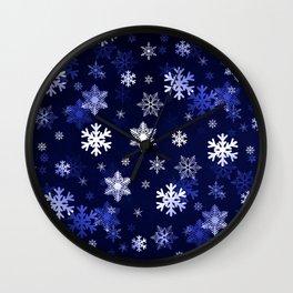 Dark Blue Snowflakes Wall Clock
